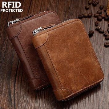 Men RFID Antimagnetic Genuine Leather Zipper Trifold Wallet