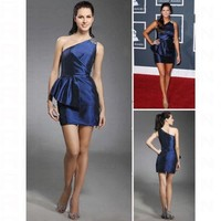 Taffeta Sheath/ Column One Shoulder Short/ Mini Beading Cocktail Dress inspired by Grammy co1095 - Celebrity Dresses - Apparel
