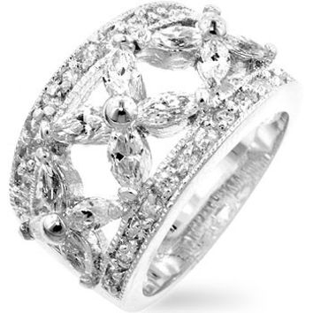 Floral Cubic Zirconia Eternity Ring