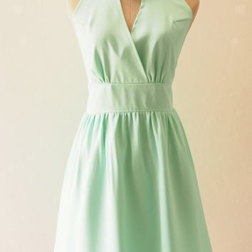 Mint Green Dress Cocktail Dress Pastel Dress Bridesmaid Dress Elegant Wedding Party Dress, Vintage Inspired Prom Dress - XS-XL,custom