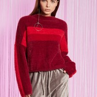 Chicloth Burgundy Round Neck Long Sleeve T-Shirt