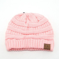Light Pink Solid Color CC Beanie