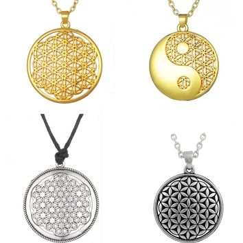 Supernatural Knot Male Flower of Life Necklace Men Pendant Egyptian Jewelry Tai Chi Mandala Women Collar
