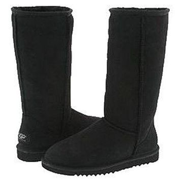 UGG Women Fashion Leather High Boot Low Heels Shoes Black