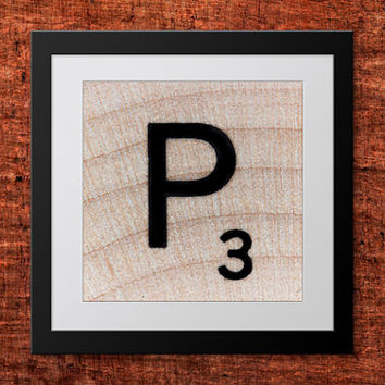 DIY Wall Art, Letter P-Personalized Word Art, Instant Download, Printable Letter, Scrabble Wall Art, Alphabet Art, Downloadable Image, Print