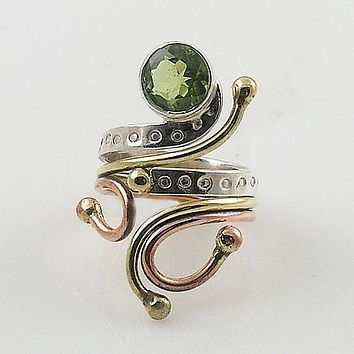 Peridot Three Tone Sterling Silver Adjustable Ring