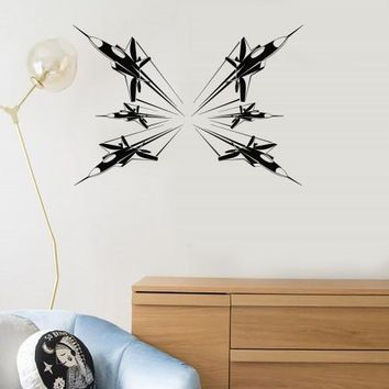 Wall Decal Air Force Plane Fighter Aircraft Jet Vinyl Stickers Mural Unique Gift (ig2847)