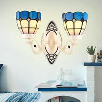 Nordic Style Tiffany Wall Lamp Bedside Corridor Balcony Bedroom Retro Mediterranean Glass Lamp