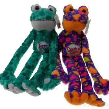 Lot 2 Peace and Love Frogs Beautiful Sweet Soft Hanging Plush Embroidered