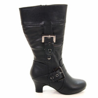 Muse2 Black Pu By Soda, (children) Girl Equestrian Low Heel Boots Zipper Buckles New Shoe