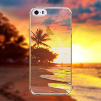 Beautiful Summer Beach Ocean Tide Sand Sunset Palm Trees Transparent Soft TPU Crystal Phone Cover Case Shell For Apple iPhone 6 6s