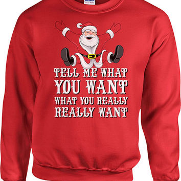 Funny Christmas Sweatshirt Tell Me What You Want Santa Sweater Merry Christmas Holiday Gifts Christmas Hoodie Holiday Presents Xmas - SA513