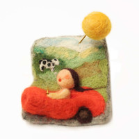 "felted brooch - ""vacation on country side""-october finds"