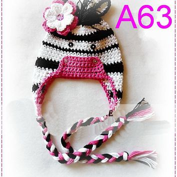 Free shipping 10pcs/LOT Baby Animal Hat, Crochet Zebra Hat , baby cartoon Hat , BABY Crochet Earflap Hat 100% cotton NB-6years