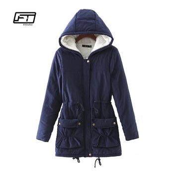 Fitaylor New 2017 Winter Women Jackets Cotton Padded Coat Long Slim Hooded Parkas Casual Wadded Quilt Snow Outwear Warm Overcoat