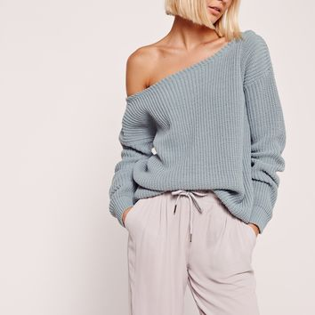 Missguided - Blue Off Shoulder Sweater