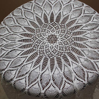 "Elegant Handmade Crochet White Round Tablecloth with tiple row of pineapples, crocheted tablecloth, 35""/89 cm diameter, housewarming gift"