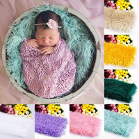 Newborn Baby Faux Wool Basket Photography Photo Props Stuffer Blanket Rug  D_L = 1712390468