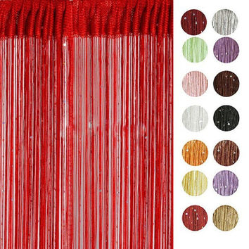 Chic String Sequined Curtain Bead Sequin Spangle Fringe Panel Room Door Divider Tassel Curtain Hot