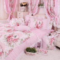 DIAIDI Home Textile,Korean Rustic Floral Bedding Set,Pink Blue Bedding Set,Princess Lace Ruffle Bedding Set,4Pcs,Twin/Full/Queen/King Bedroom Set (4.5ft bed, 5)