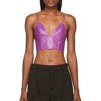 T By Alexander Wang Purple Lether Raw-edged Triangle Bralette