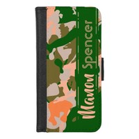 Pink and Green Camouflage Pattern iPhone 8/7 Wallet Case