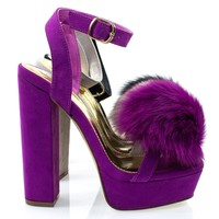 Yuko10 By Liliana, Furry Super High Block Heel Platform Sandal w Faux Fur Pom Pom