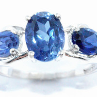 2 Carat Blue Sapphire Heart Ring .925 Sterling Silver Rhodium Finish White Gold Quality
