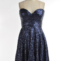 """Sweetheart"" Navy Sequin Dress"