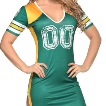 Green and Gold Fantasy Football Dress Costume