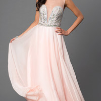 Long Pink Open Back Dress by Dave and Johnny