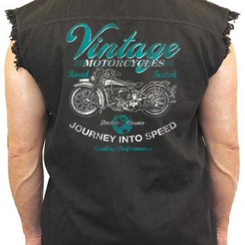 Men's Sleeveless Denim Shirt Vintage Motorcycles Journey Into Speed