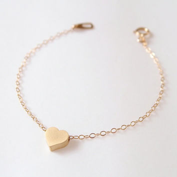 Gold Heart Bracelet  14k Gold filled  Dainty by theplaincanvas