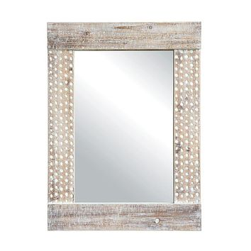 White Washed Wood Wall Mirror - 31-in