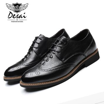 Desai Retro Carved Oxford Shoes Men's Genuine Leather Lace-up British Brogue style Handmade Shoes Mens Business Shoe DS5169