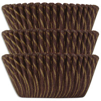 Brown & Gold Candy Stripe Baking Cups