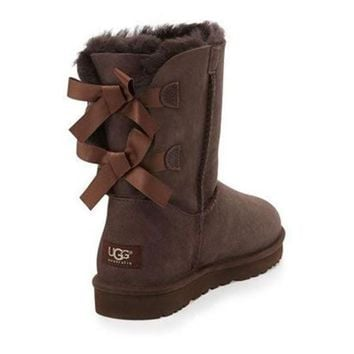 UGG Fashion Women Bow Flats Leather Boots In Tube Boots Shoes-2