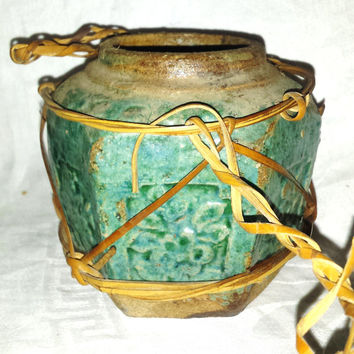 Antique Chinese Pottery , Shiwan , Jade Green Glazed , Ginger Spice Preserve Jar , Gold Rush Diggings