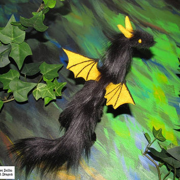 dragon posable doll black yellow bat wings ceramic eyes Halloween fantasy pet miniature faux fur handmade plush felt Jerseydays