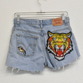 Tiger Head Patched Reworked Shorts