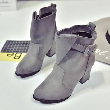New Women Grey Round Toe Chunky Buckle Casual Ankle Boots