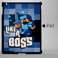 Blue Minecraft Creeper Like a Bos iPad 2, iPad 3, iPad 4, iPad Mini and iPad Air Cases