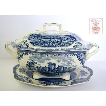 Blue & White Transferware Soup Tureen & Platter Roses Old Britain Castles Johnson Brothers
