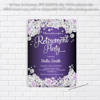 Retirement Invitations,  Retirement party  Retirement Celebration elegant Rhinestone , diamond theme - card 592