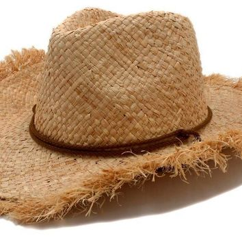 Cowboys Straw Hats-Western Cowgirls roll-up Summer Sun Caps