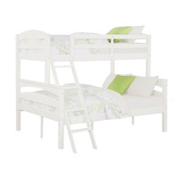 Twin over Full Bunk Bed with Ladder in White Wood Finish