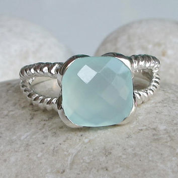 Blue Chalcedony Ring- Aquamarine Ring- Blue Gemstone Ring- Topaz Ring- Quartz Ring- Something Blue- Bridesmaid Ring