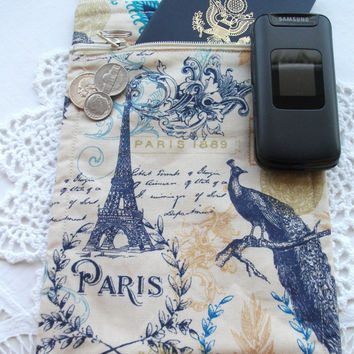 Travel Cross Body Pouch On the Go Purse Neck Wallet Minimalist Eifel Tower Paris Navy Fabric Handmade Small