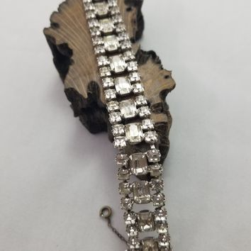Weiss Co NY triple layer emerald cut vintage rhinestone bracelet with catch chain