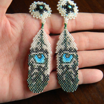 Eagle Feather with Blue Wolf Eyes Beaded Earrings